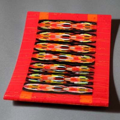 GINA MICHEL-Red Hot Rumba-fused glass