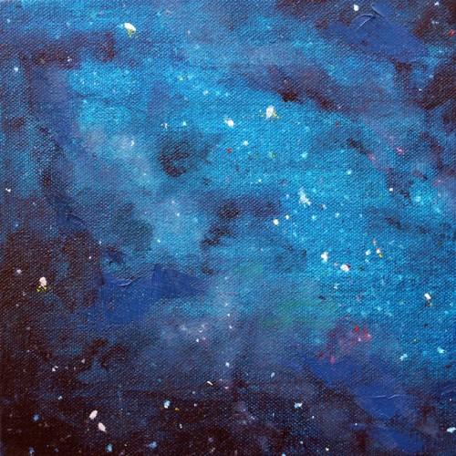 AlinaKawai-haleakala Night, blue - 8x8 acrylc and oil on canvas