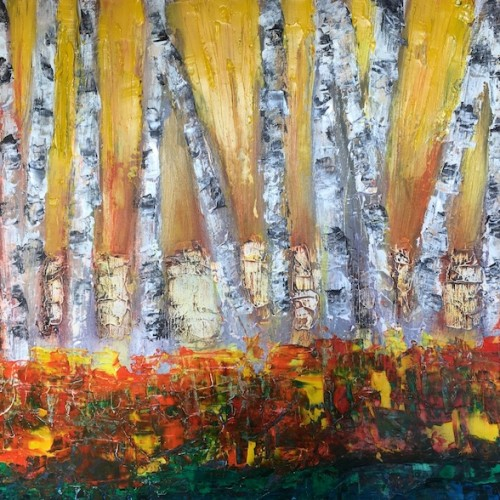 AndyFriedlander-BirchTrees-in-the-AutumnSun-18x24 oil on canvas
