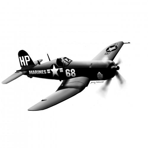 JerryAxlund-Vought F4U Corsair-pen-ink-digital airbrush 14x11