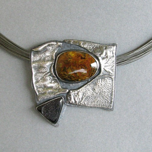 Pendant (pietersite with black druzy on sterling) by Liane Redpath