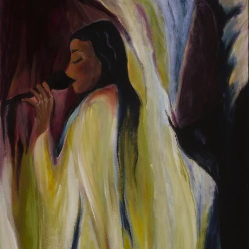 RiaHarboe-ChickSinger-16x40 oil on canvas