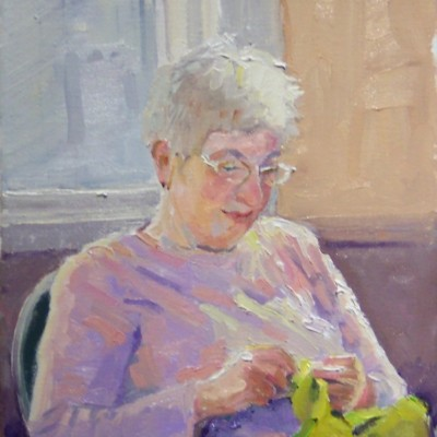 Joy olney-Costume-Mending, 10x8 oil