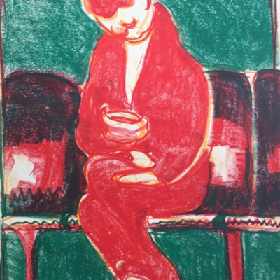 MICHAEL MCJILTON - Portrait of a Woman on the Phone - 23x16 oil pastel - paper