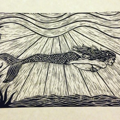 Mermaid - Lia Santini - 8x10 linocut