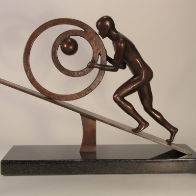 Sisyphus - Robert E Gigliotti - 12x18x8 cast bronze on granite base