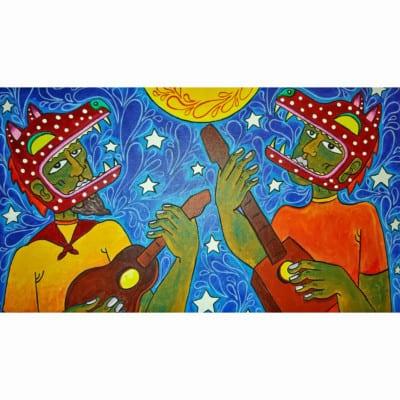ANTONIO GONZALEZ-Two Man Mid-nite Howl 22x28 acrylic on canvas-