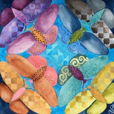 STACIE LEBLANC-8 Moths 11 x 11.5 Watercolor & Gouache