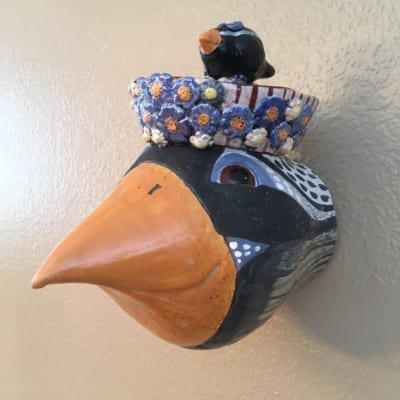 Debra Stern Bird Four Bird with Brown Striped Hat and Flowers and Black Bird with Flower Atop - 7.5x7.5 handthron handbuilt clay