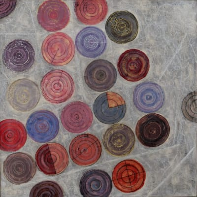 Karen Copher - Irrigation Circles - 21.25 x 21.25 - encaustic on panel