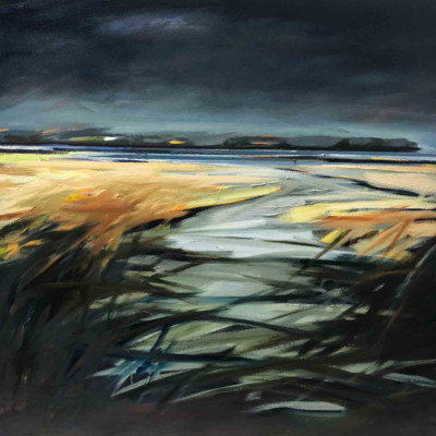 "Estuary, Twilight Oil, 30x30"" $3,000"