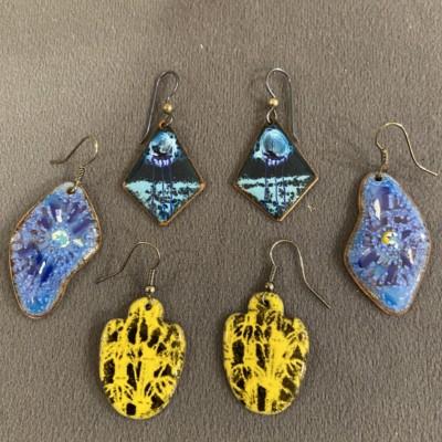 Enameled Earrings
