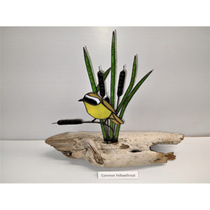 Green, Common Yellowthroat _ Cattails on Driftwood